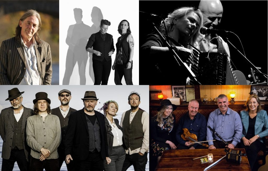 Pic of some of the artists at Cornwall Folk Festival 2020