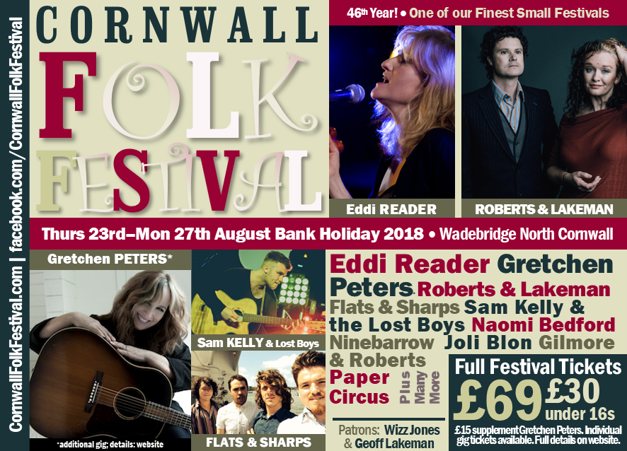 Cornwall Folk Festival Line-up 2018