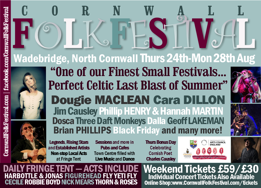 Cornwall Folk Festival Line-up 2017