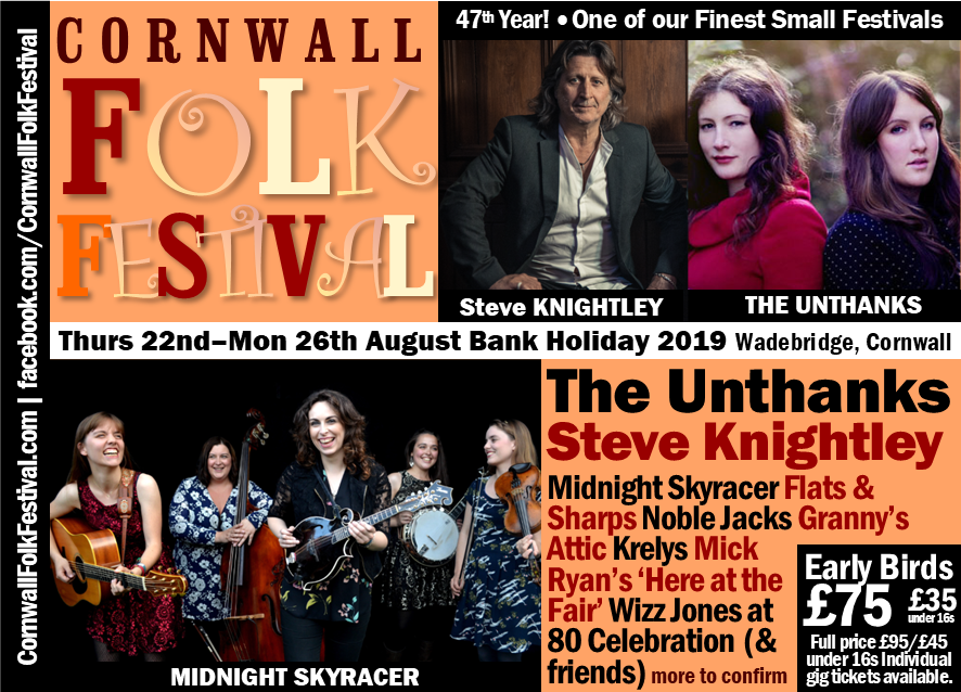 Cornwall Folk Festival Line-up 2019